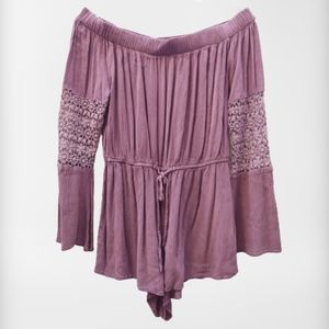 Indulge Purple Lace Off Shoulder Romper Shorts